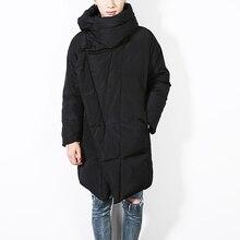Winter new men's jacket warm long men's hooded casual jacket cotton coat fashion punk cloak overcoat D01