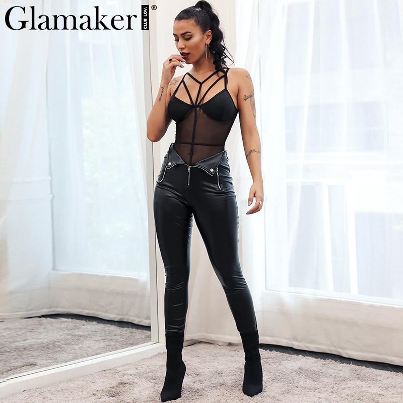 Glamaker Zipper black leather suede women pants Slim PU skinny bodycon casual pants summer pencil skinny pants trousers bottom