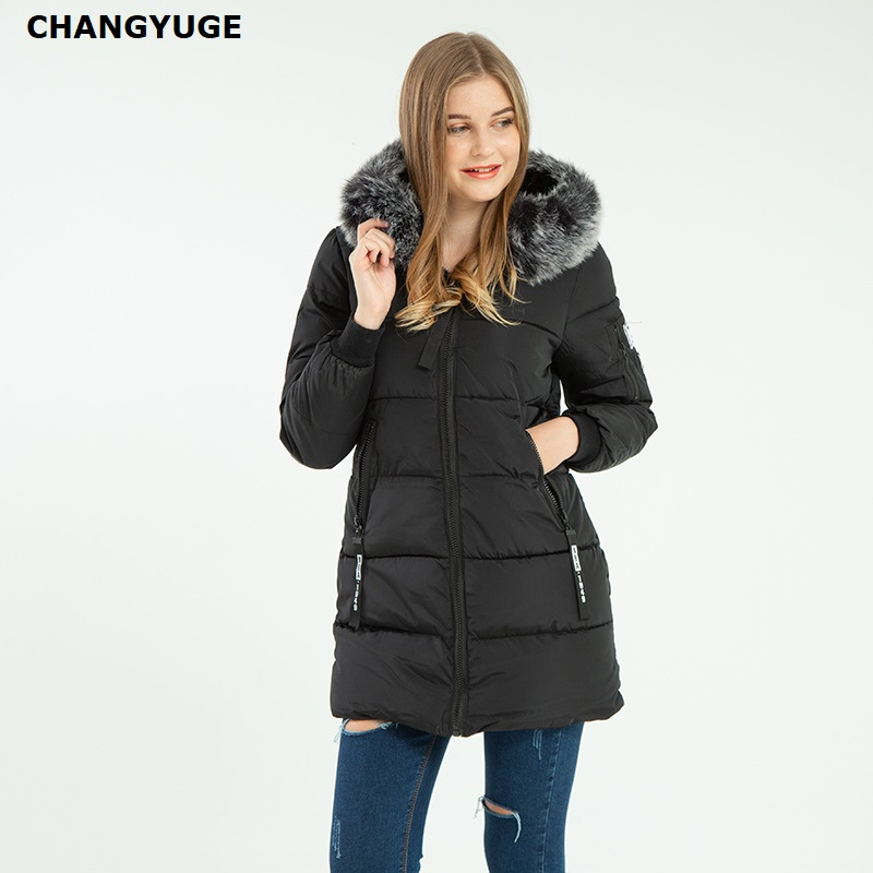 CHANGYUGE 2017 New Winter Jacket Female Parka   Coat   Feminina Long   Down   Jacket Plus Size Long Hooded Duck   Down     Coat   Jacket Women