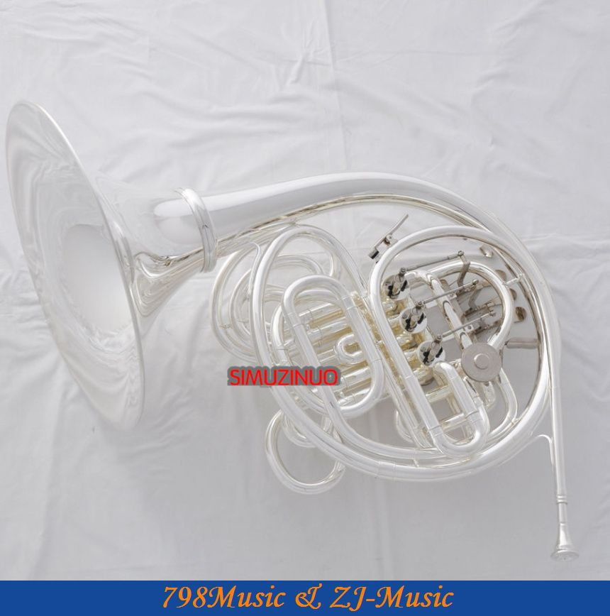 Silver Plated Double French Horn F/Bb 4 Key Brand New with Case one horn double row 4 key single french horn fb key french horn with case surface gold lacquer professional musical instrument