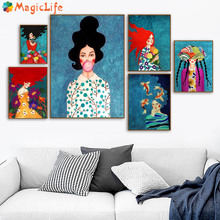 Abstract Fashion Vintage Bubble Girl Decor Wall Art Canvas Painting Nordic Posters Pictures For Living Room Unframed