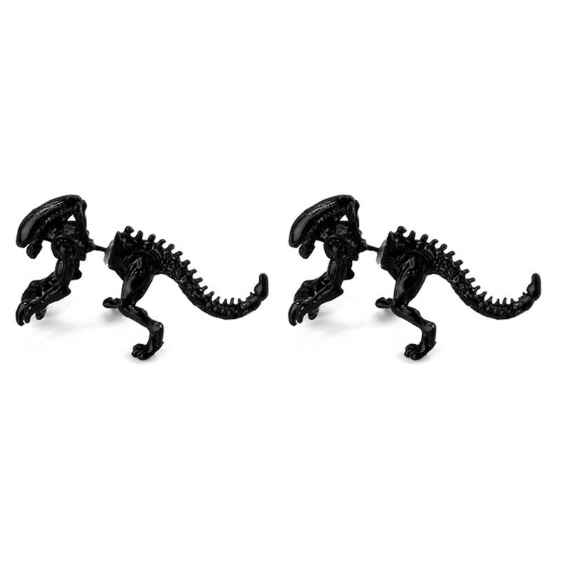 Wholesale 4 color Alien Dinosaur Earrings Black Enamel Earrings For women fashion Stud Earring animals Jewelry Men Lady Gift