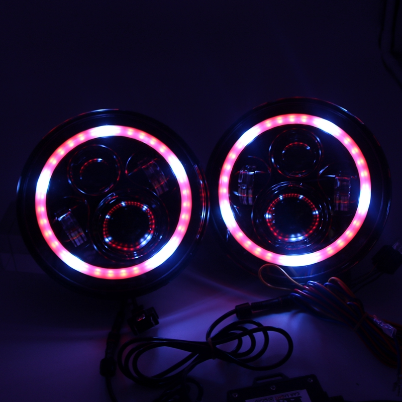 7 inch LED RGB Headlight 7 DRL Headlamp Flashing rgb Angel eye halo ring Bluetooth Controlled for Jeep jk wrangler