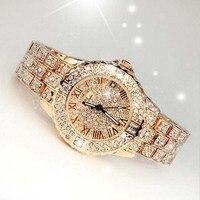 2017 neue Frauen Strass Uhren Dame Kleid Frauen uhr Diamant Luxus marke Armband Armbanduhr damen Kristall Quarz Uhren