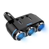 Universal 3 Sockets Way Car Auto Cigarette Lighter Splitter Power Adapter Dual 2 USB Car Charger