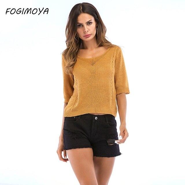 FOGIMOYA футболка Для женщин 2018 Летняя мода крюк Цветы Футболки Для женщин s Вязание свитер Топы с короткими рукавами с v-образным вырезом футболки новый