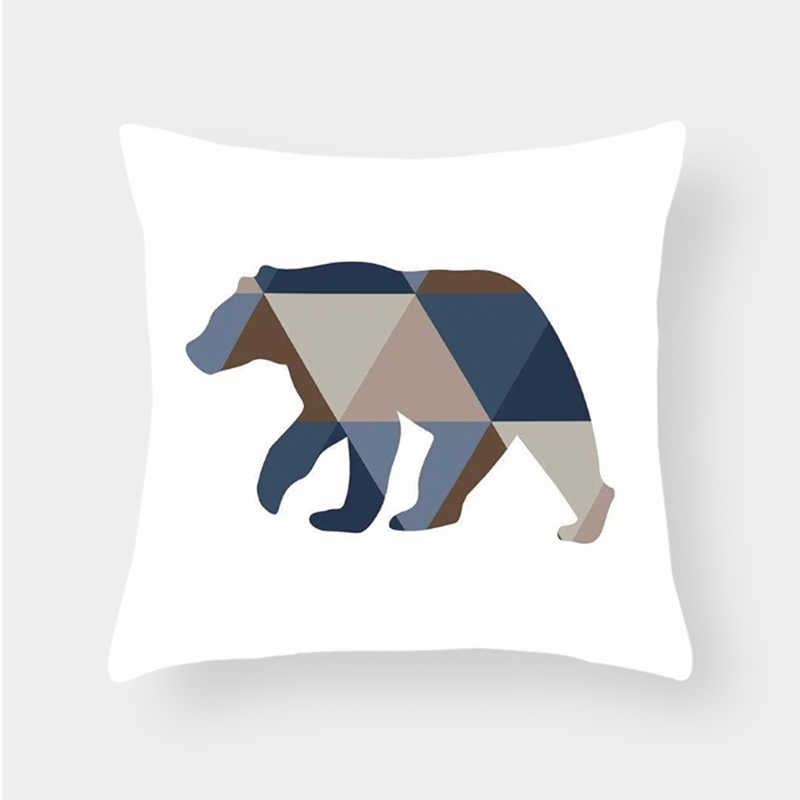 هندسية الحيوان الدب الغزلان وسادة يغطي الجبلية الغابات شجرة المائية الفن مخدة ناعمة حالات 45X45 سنتيمتر أريكة كرسي الديكور
