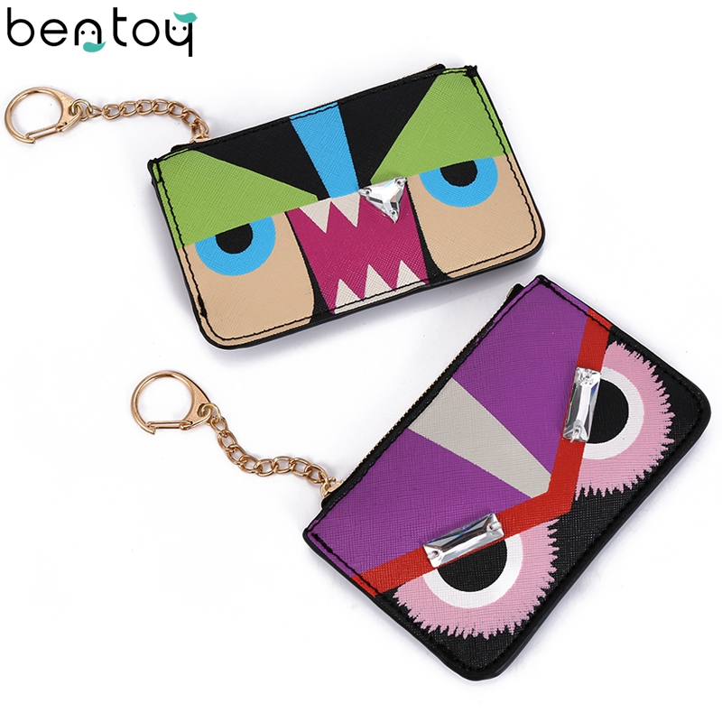 Bentoy Genuine Leather Women Purse Rivet Flower Small Clutch Bag Key ring Mini Money Wallet Ladies Monster Bag Card Holder Case fashion women coin purse lady vintage flower small wallet girl ladies handbag mini clutch women s purse female pouch money bag