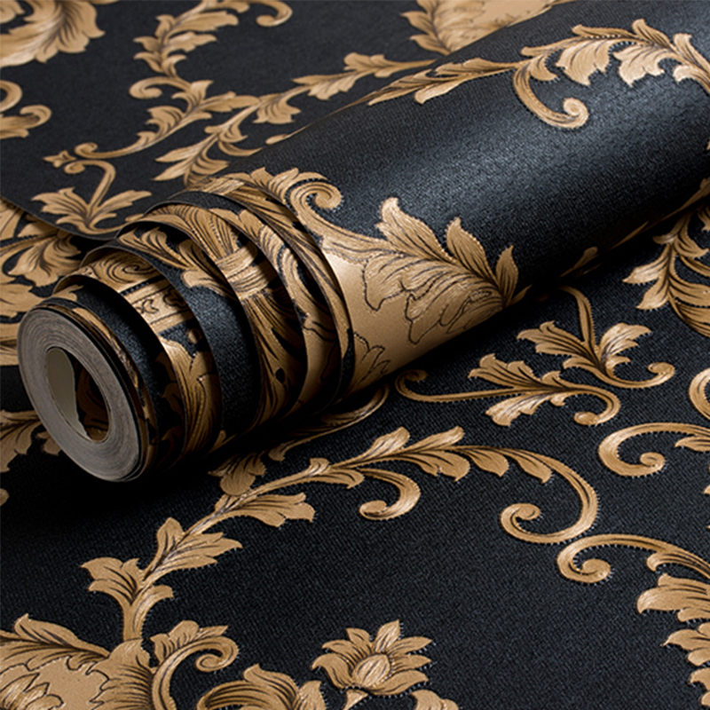 High Quality European Style 3D Embossed Black Damascus Luxury Wallpaper Living Room Backdrop PVC Wallpapers Roll Papel De Parede