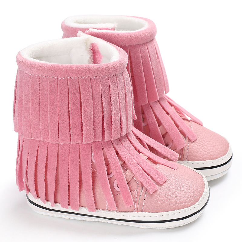Winter fashion baby fringe boots warm pu leather baby moccasins boys girls shoes baby boots 7 colors soft sole