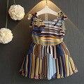 Летний Новый Девушки Моды Корейской Полосатый Вернуться Крест Hollow Шифоновое Платье В 2016 Году