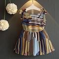 Summer New Girls Fashion Korean Striped Back Cross Hollow Chiffon Dress In 2016