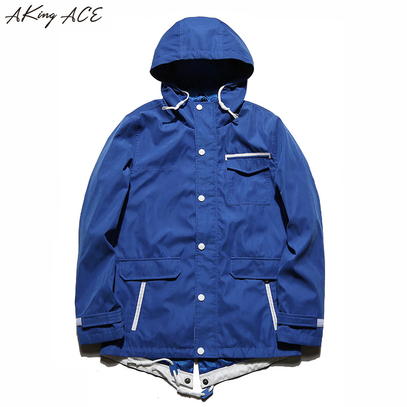 Hooded Windbreaker Jacket Men Autumn High Collar Jacket with Hood Streetwear Mens Hooded Jackets Pockets M-3XL AKing ACE, ZA297