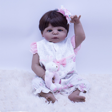 55-57cm Bebe Reborn Doll full Silicone Girl Toy Non-toxic black skin Baby Gift for Children bath toy play house