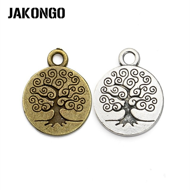 Antique Silver Plated Tree of Life Charms Pendants for Jewelry Making Bracelet A