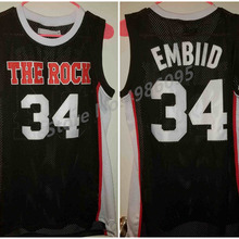 1ef77cf5530 #34 Joel Embiid The Rock High School Black Retro Basketball Jersey Mens  Stitched Custom Any Number Name Jerseys