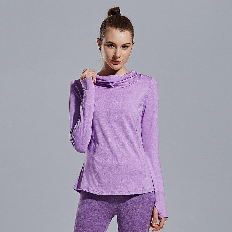 Women Quick dry Yoga Tight Long Sleeve Hooded T Shirt Anti Sweat Fitness Running Tops Tee