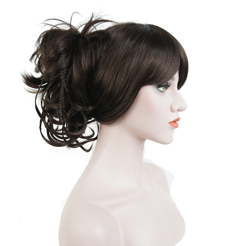 StrongBeauty Synthetic Short Claw Clip On Tousled Braided Wig Ponytail Tiny Braids Bun Updo