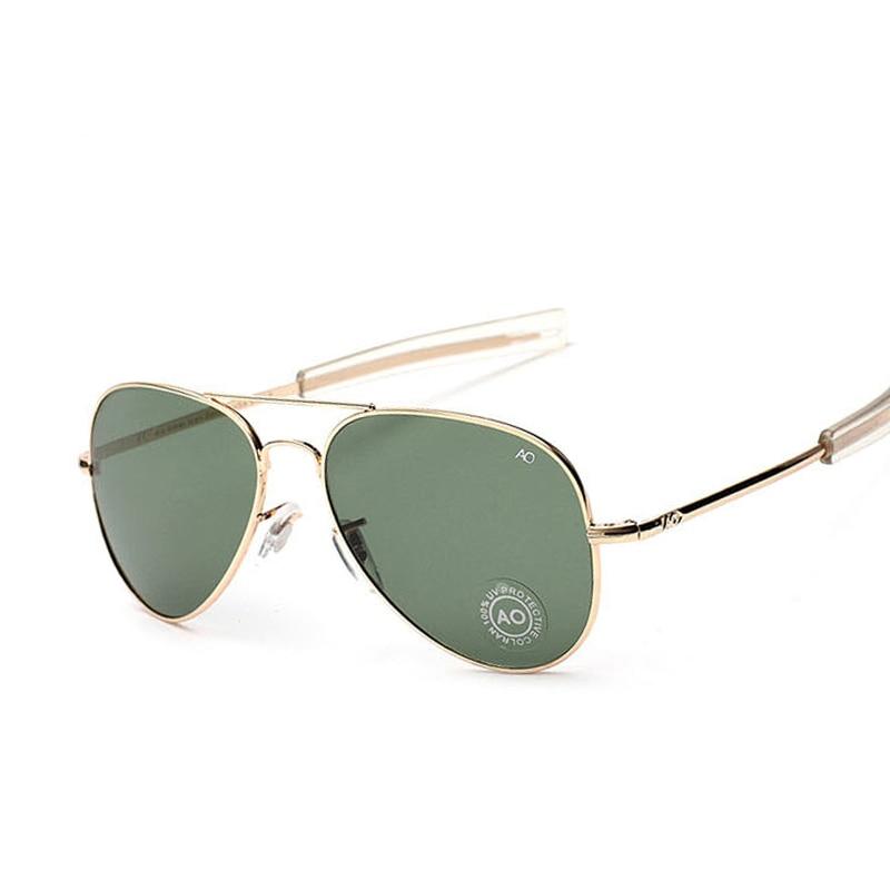 Aviação Óculos De Sol Dos Homens Marca de moda Designer AO Sol Óculos Para O Sexo Masculino Militar Do Exército Americano Vidro Óptico de Lentes de Oculos
