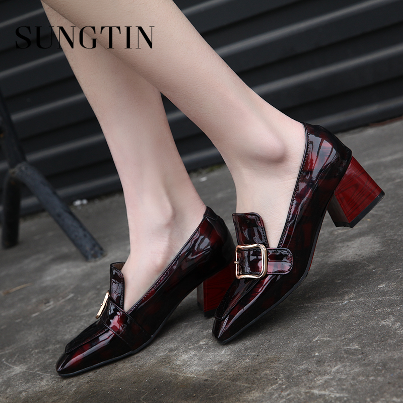 Sungtin High Quality Patent Leather Fashion Women Pumps Square Toe High Heel Shoes Classic Handmade Ladies Shoes Plus Size ladies handmade fashion patent patchwork 100mm wedding evening high heel pumps shoes cke103