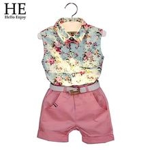 2015 New casual sleeveless summer baby boys girls Shirt + shorts belt 3pcs suit  children clothing set