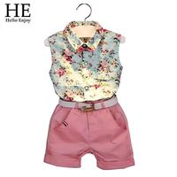 2015 New Casual Sleeveless Summer Baby Boys Girls Shirt Shorts Belt 3pcs Suit Children Clothing Set