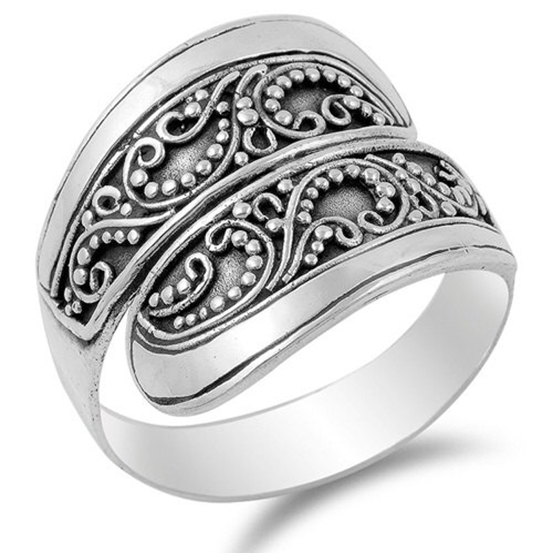 Open Adjustable Flower Thumb Ring 925 Silver Finger Ring Band Jewelry Gift