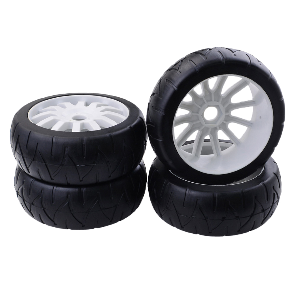 MagiDeal <font><b>1:8</b></font> 4WD RC Electric Drift Car Model <font><b>Wheel</b></font> Tire Tyres 17mm Hex Rim for Hobby Grade Car Toy Accessory DIY 4x image