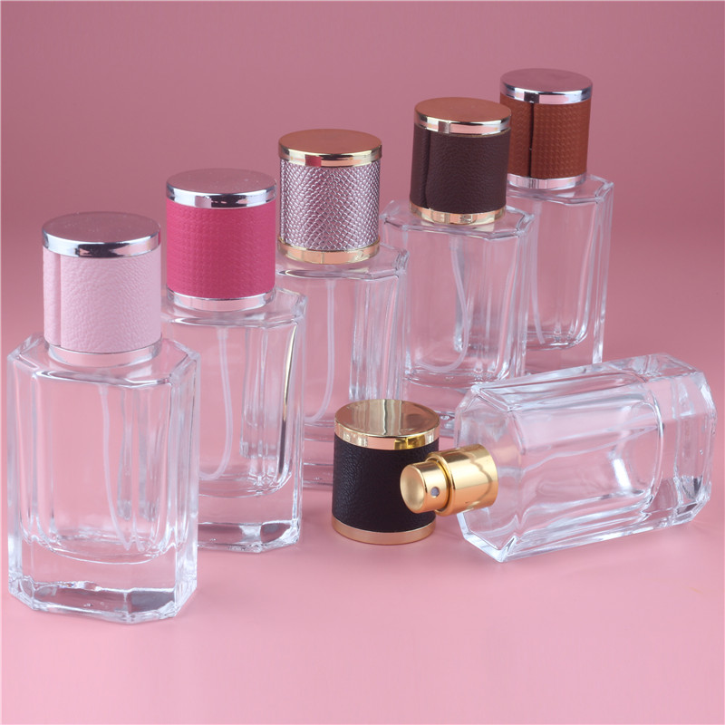 Brand New 50ml Color Cap Clear Glass Spray Refillable Perfume Bottles Glass Automizer Empty Cosmetic Container For Travel