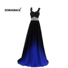 Doragrace robe de soiree A-Line Lace-Up Spaghetti Straps Beaded Gradient Chiffon Long Evening Dresses Prom Gowns