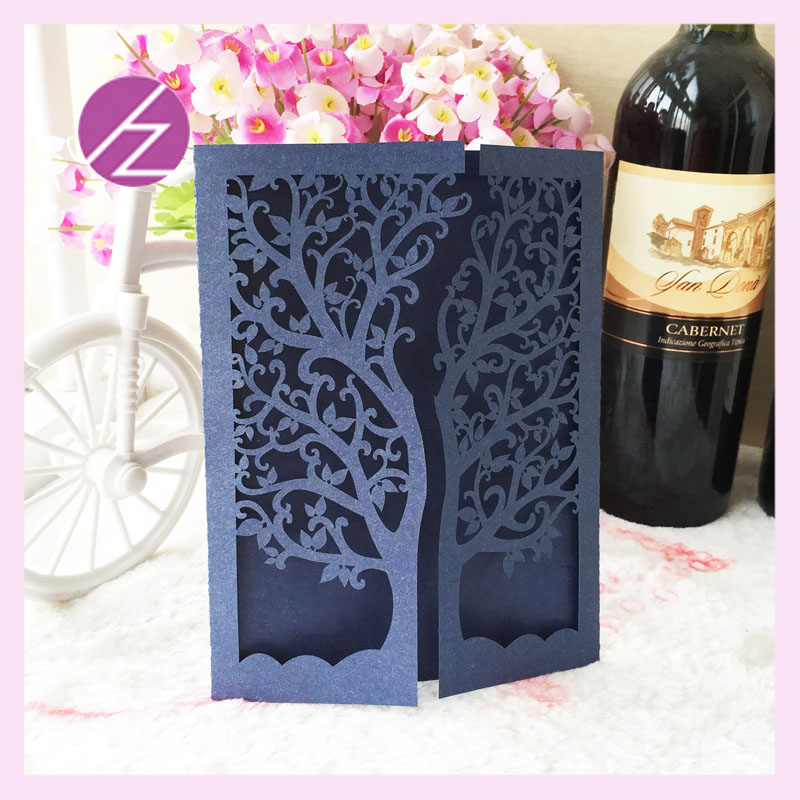 Hot sale customized dark blue and dark greeen Wedding Invitation ...