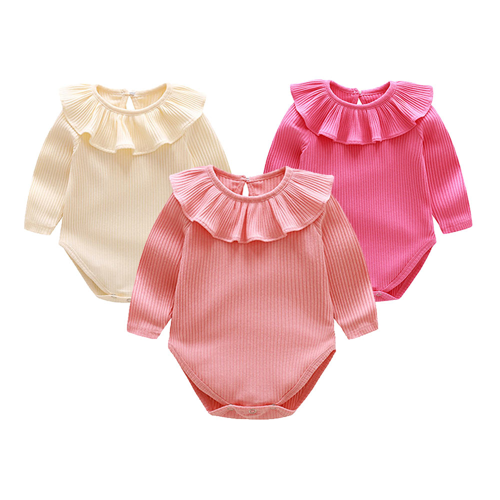 2Pcs/set Solid Baby Romper Lotus Leaf Triangular Collar Infant Jumpsuit Knitted Cotton Newborn Girl Pajamas Baby Girl Rompers