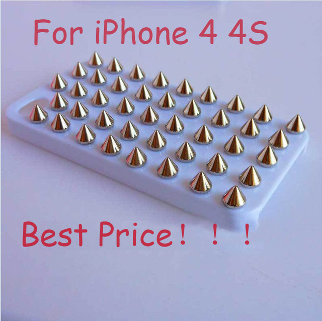 Free shipping /hot sell /fashion Punk Gold Spikes Studs Rivet Cover Skin Shell Case For iPhone 4 4S 4G