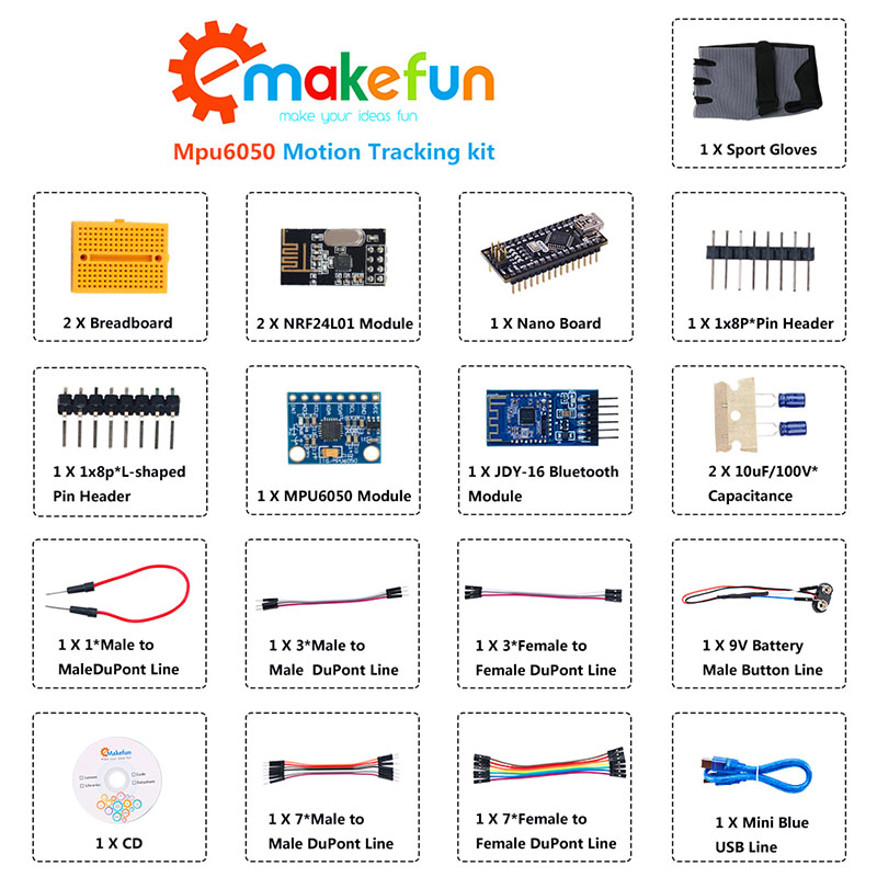 Image 3 - Keywish Gesture Motion Starter Kit for Arduino Nano V3.0 Support Robot Smart Car MPU6050 6 Axis Accelerometer Gyroscope Module-in Integrated Circuits from Electronic Components & Supplies