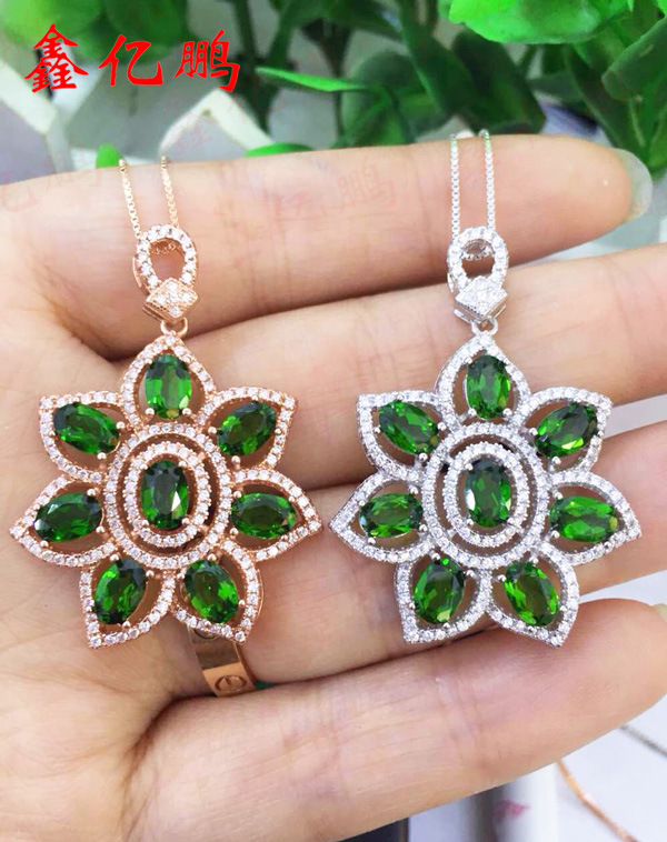 925 sterling silver with natural diopside pendant female925 sterling silver with natural diopside pendant female
