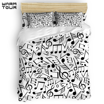 WARMTOUR  Duvet Cover  Black White Note Classic Music Duvet Cover Set  4 Piece Bedding Set For Beds DHL Shipping Methods