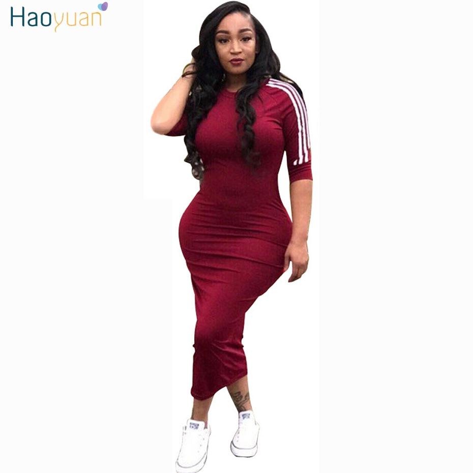 HAOYUAN Frauen plus größe kleid vestidos 2018 sommer kleider ...