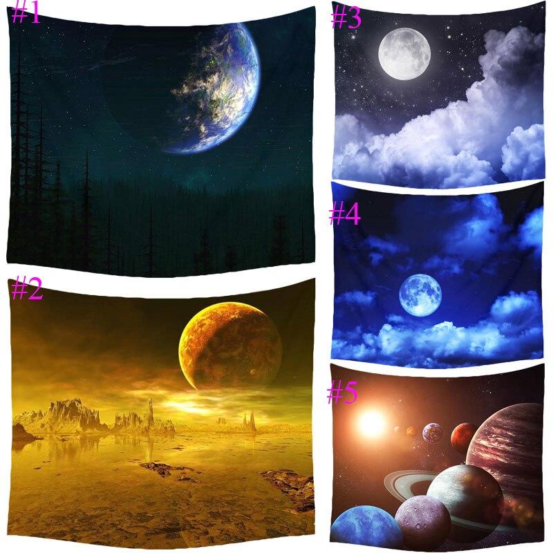 Comwarm Phantasie Cartoon Mond Cosmos Erkunden Polyester Tapisserie Kinder Schlafzimmer Wandbehang Gobelin Bettwäsche Abdeckung Wohnkultur T038