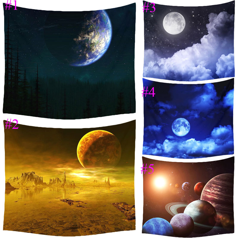 Comwarm Fancy Cartoon Moon Cosmos Explore Polyester Tapestry Children Bedroom Wall Hanging Gobelin Bedding Cover Home