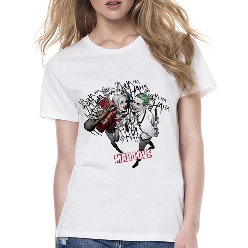 Suicide Squad Mad Love Summer Design T Shirt Women harajuku print kawaii girl tshirt tumblr short female t-shirt Wyy558
