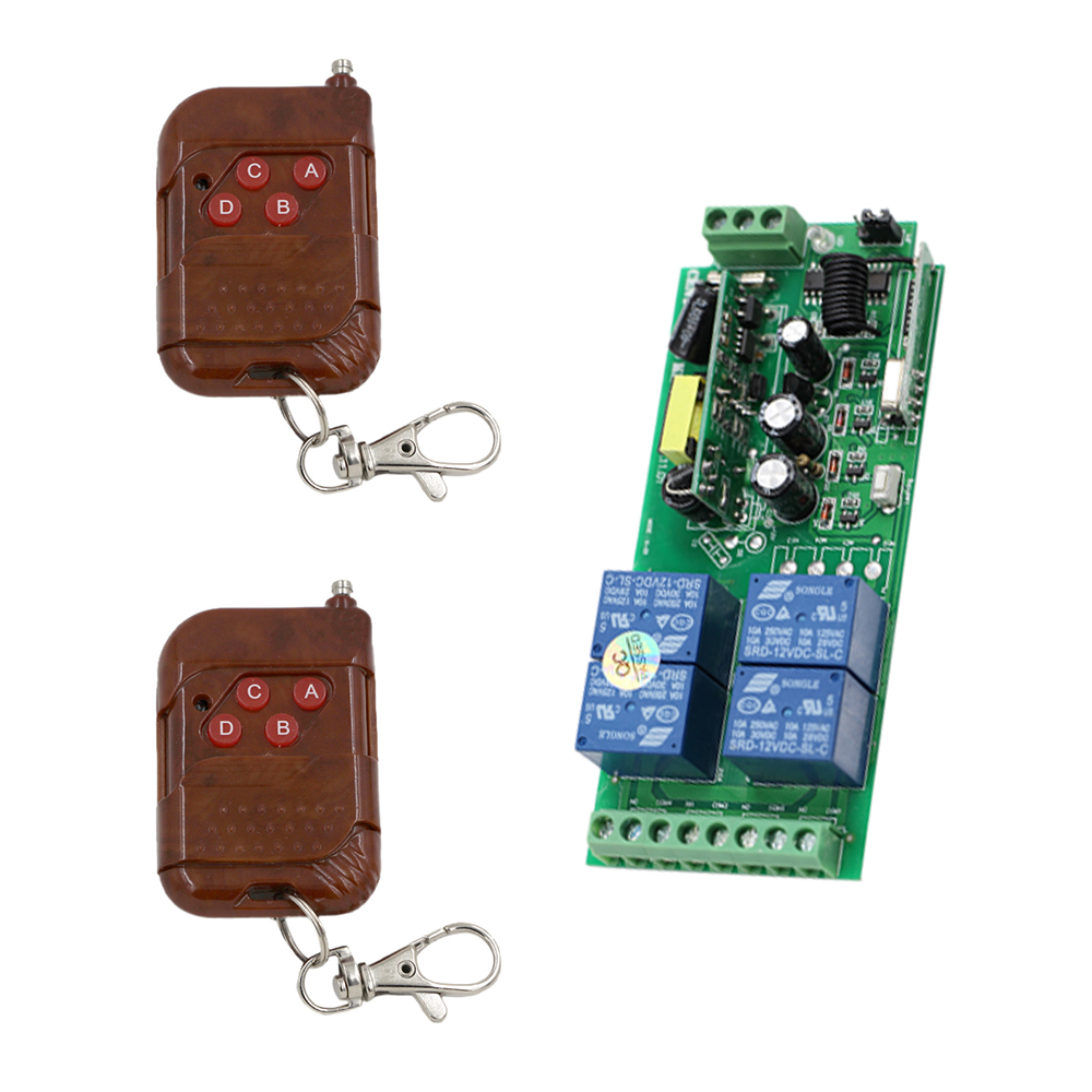 Promotion Price AC 85V~250V RF 4 CH Wide Voltage Multi-Function Receiver & Transmitter RF Wireless Remote Control System promotion price wireless