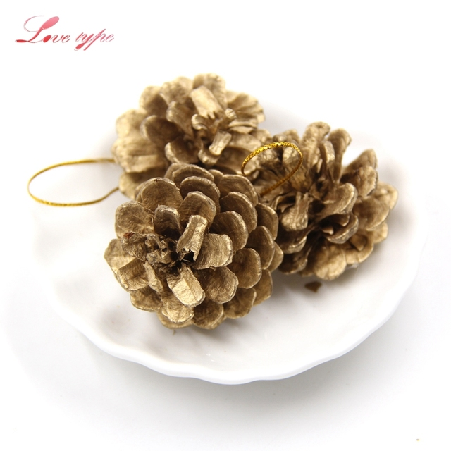 9pcslot gold christmas ornaments pine cones diy xmas tree ornaments pendant home decor christmas