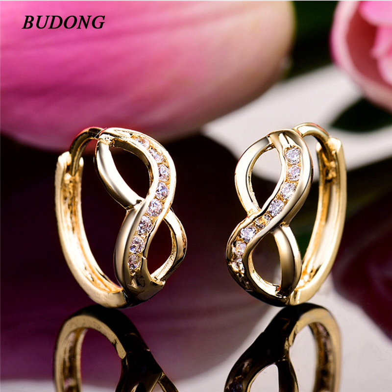 BUDONG Fashion Twisted Small Hoop Infinity Earrings Silver Gold Color Hoop Earring White font b Crystal