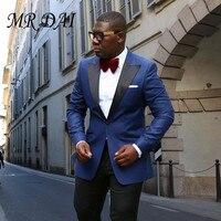 MD 025 New Custom Made Royal Bule With Black Costume Homme Men Suit Trajes De Novios