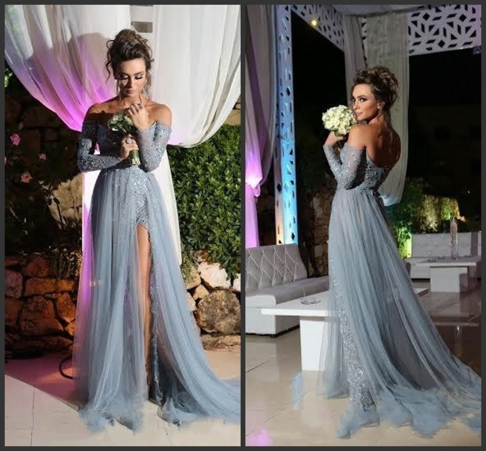 Grey Prom Dress 2016 A Line Long Sleeve Tulle Party