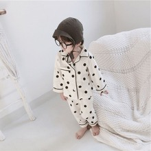 Одежда для сна для малышей; детский комплект одежды в горошек для мальчиков и девочек; блузка с длинными рукавами; топы+ брюки; одежда для сна; Новая Пижама
