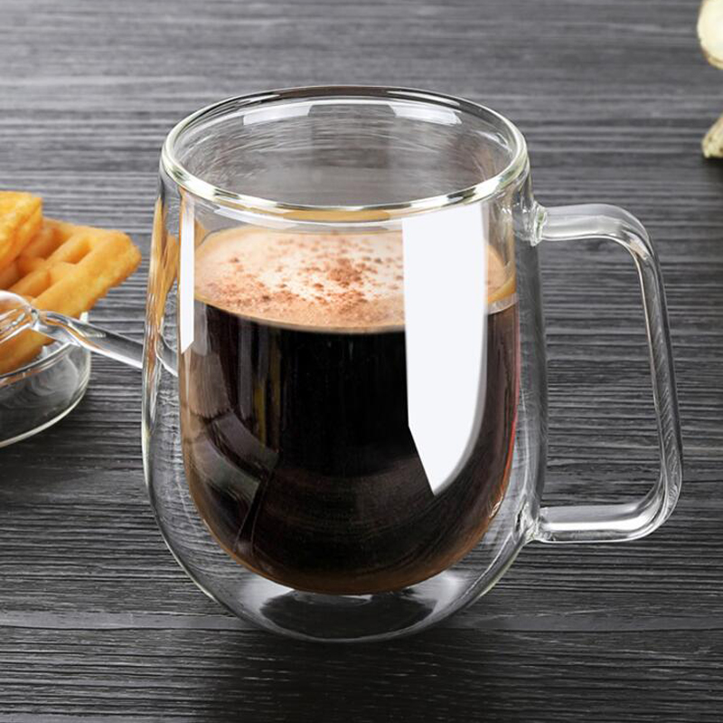 1Pcs Double Coffee Mugs With the Handle Mugs Drinking Insulation Double Wall Glass Tea Cup Creative Gift Drinkware Milk in Transparent from Home Garden