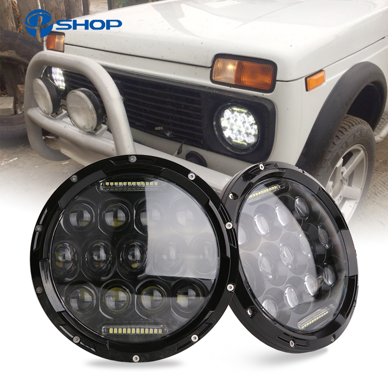 2x 75W 7 Led Headlight H4 High Low Beam Round Cars Running Lights for Jeep Lada
