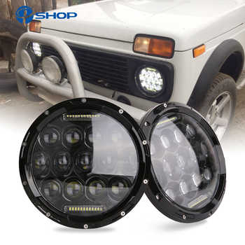 2x 75W 7'' Led Headlight H4 High Low Beam Round Cars Running Lights for Jeep Lada Niva 4x4 - DISCOUNT ITEM  58% OFF All Category