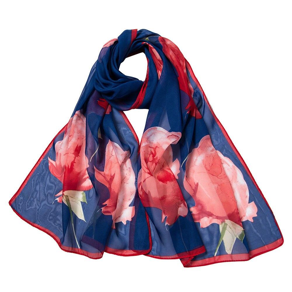 2018 Autumn Fashion   Scarves   For Women Retro Flower Printing Long Soft   Wrap     Scarf   Girl Ladies Chiffon Silk   Scarf   Hijab Shawls #YL